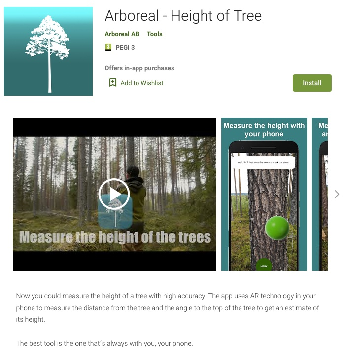 Arboreal Height of tree Android Google play